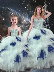 Sleeveless Organza Floor Length Lace Up 15th Birthday Dress in Blue And White with Beading and Ruffled Layers