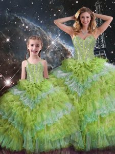 Multi-color Sleeveless Beading and Ruffled Layers and Sequins Floor Length Quinceanera Gown