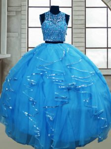 Colorful Floor Length Baby Blue Sweet 16 Dress Scoop Sleeveless Lace Up