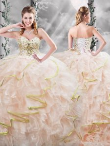 Organza Sweetheart Sleeveless Brush Train Lace Up Beading and Ruffles Ball Gown Prom Dress in Peach