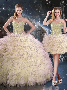 Light Yellow Sleeveless Organza Lace Up Ball Gown Prom Dress for Military Ball and Sweet 16 and Quinceanera