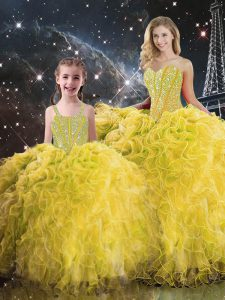 Dramatic Floor Length Yellow Quinceanera Dress Sweetheart Sleeveless Lace Up