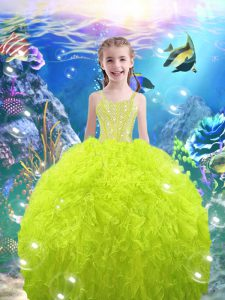 Elegant Sleeveless Organza Lace Up Child Pageant Dress for Quinceanera and Wedding Party