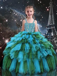 Teal Party Dress for Girls Quinceanera and Wedding Party with Beading and Ruffles Straps Sleeveless Lace Up