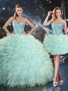 Turquoise Ball Gowns Sweetheart Sleeveless Organza Floor Length Lace Up Beading and Ruffles 15 Quinceanera Dress