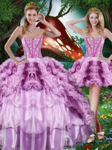 Fancy Floor Length Lace Up 15 Quinceanera Dress Multi-color for Military Ball and Sweet 16 and Quinceanera with Beading and Ruffles and Ruffled Layers