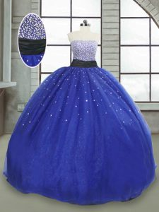 Eye-catching Royal Blue Strapless Neckline Beading and Sequins Sweet 16 Dress Sleeveless Lace Up