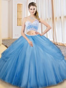 Dynamic Baby Blue Tulle Criss Cross Sweet 16 Dress Sleeveless Floor Length Beading and Ruching and Pick Ups