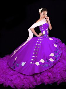 High Class Eggplant Purple Sleeveless Brush Train Embroidery and Ruffles Sweet 16 Quinceanera Dress