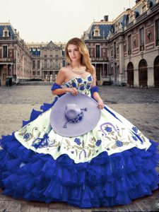 Exceptional Royal Blue Ball Gowns Organza Sweetheart Sleeveless Embroidery and Ruffled Layers Floor Length Lace Up Quinceanera Dress