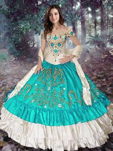 Blue And White Sleeveless Elastic Woven Satin Lace Up Quince Ball Gowns for Military Ball and Sweet 16 and Quinceanera