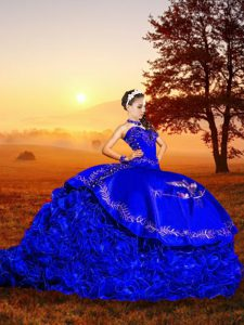 Royal Blue Lace Up Sweetheart Embroidery and Ruffles Quinceanera Gown Organza Sleeveless Brush Train