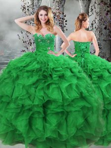 Elegant Floor Length Green Quince Ball Gowns Sweetheart Sleeveless Lace Up