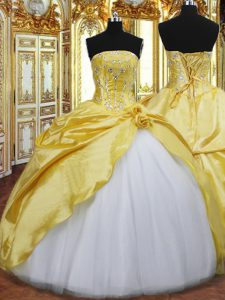 Spectacular Floor Length Lace Up Quinceanera Gowns Gold for Military Ball and Sweet 16 and Quinceanera with Beading and Hand Made Flower