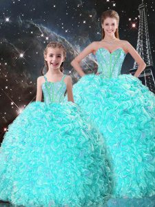 Super Turquoise Sweetheart Lace Up Beading and Ruffles Quince Ball Gowns Sleeveless