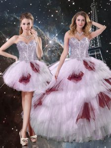 Modest Floor Length Lace Up Quinceanera Dress Multi-color for Military Ball and Sweet 16 and Quinceanera with Beading and Ruffled Layers and Sequins