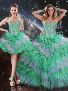 Luxurious Beading and Ruffles Quinceanera Dress Multi-color Lace Up Sleeveless Floor Length