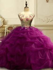 Scoop Sleeveless Organza Vestidos de Quinceanera Appliques and Ruffles and Sequins Lace Up