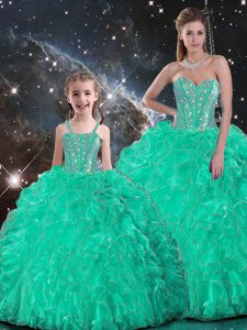 Fancy Floor Length Lace Up Sweet 16 Quinceanera Dress Turquoise for Sweet 16 and Quinceanera with Beading and Ruffles