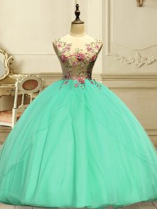 Fashion Floor Length Lace Up Ball Gown Prom Dress Apple Green for Military Ball and Sweet 16 and Quinceanera with Appliques