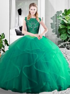 Tulle Sleeveless Floor Length Sweet 16 Quinceanera Dress and Lace and Ruffles