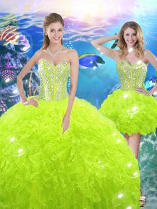 Yellow Green Ball Gowns Sweetheart Sleeveless Organza Floor Length Lace Up Beading and Ruffles Vestidos de Quinceanera