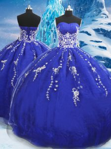 Blue Ball Gowns Organza Sweetheart Sleeveless Appliques Floor Length Lace Up Quinceanera Dresses