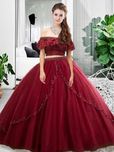 Free and Easy Floor Length Burgundy 15 Quinceanera Dress Off The Shoulder Sleeveless Lace Up