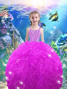 Beautiful Straps Sleeveless Organza Child Pageant Dress Beading and Ruffles Lace Up