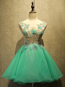 Dazzling Mini Length Lace Up Homecoming Dress Green for Prom and Party with Embroidery