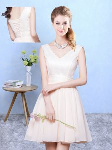 Shining Champagne Empire V-neck Sleeveless Chiffon Knee Length Lace Up Ruching Quinceanera Court of Honor Dress