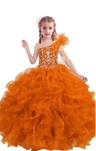 Fancy Orange Red Sleeveless Beading and Ruffles Floor Length Pageant Gowns For Girls
