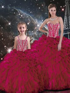 Superior Burgundy Sleeveless Organza Lace Up Sweet 16 Dresses for Military Ball and Sweet 16 and Quinceanera