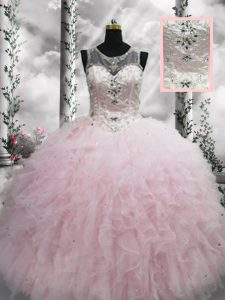 Shining Tulle Sleeveless Floor Length Quinceanera Gowns and Beading and Ruffles