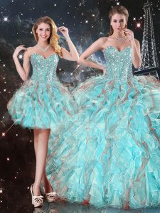 Romantic Aqua Blue Lace Up Sweetheart Beading and Ruffles Quinceanera Dress Organza Sleeveless