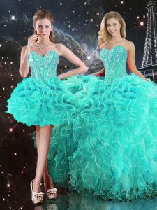 Super Turquoise Ball Gowns Sweetheart Sleeveless Organza Floor Length Lace Up Beading and Ruffles Quinceanera Dress
