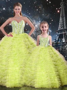 Best Selling Yellow Green Ball Gowns Beading and Ruffles Quinceanera Gowns Lace Up Tulle Sleeveless Floor Length