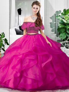 Colorful Hot Pink Off The Shoulder Lace Up Lace and Ruffles Quinceanera Dresses Sleeveless