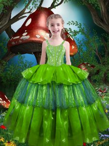 Ball Gowns Beading and Ruffled Layers Little Girl Pageant Dress Lace Up Organza Sleeveless Floor Length