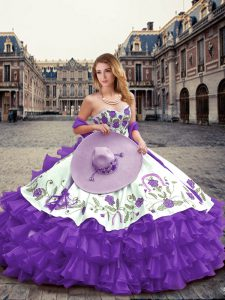 Floor Length Lace Up 15 Quinceanera Dress Lavender for Military Ball and Sweet 16 and Quinceanera with Embroidery and Ruffled Layers