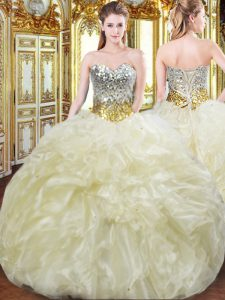 Fashion Light Yellow Ball Gowns Sweetheart Sleeveless Organza Floor Length Lace Up Beading and Ruffles Quinceanera Gowns