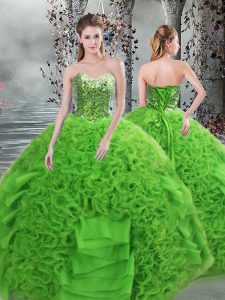 Green Lace Up Sweetheart Beading and Ruffles Vestidos de Quinceanera Organza Sleeveless