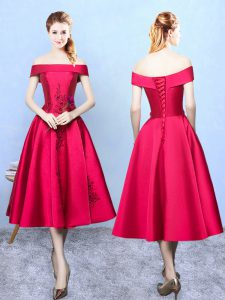 Free and Easy Wine Red Cap Sleeves Appliques Tea Length Dama Dress for Quinceanera