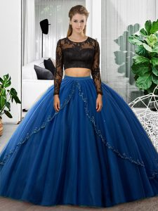 Lace and Ruching 15th Birthday Dress Blue Backless Long Sleeves Floor Length