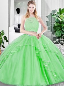 High Class Floor Length Sweet 16 Dresses Scoop Sleeveless Zipper