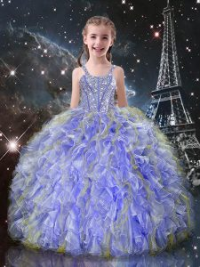 Best Straps Sleeveless Party Dress for Girls Floor Length Beading and Ruffles Lavender Organza