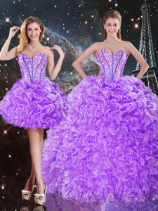 Lavender Organza Lace Up 15th Birthday Dress Sleeveless Floor Length Beading and Ruffles