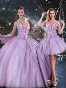 Glittering Lavender Sleeveless Tulle Lace Up Quinceanera Gown for Military Ball and Sweet 16 and Quinceanera
