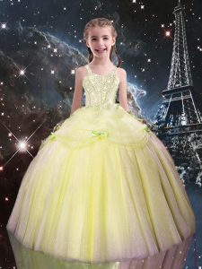 Admirable Light Yellow Straps Lace Up Beading Little Girl Pageant Gowns Sleeveless