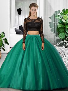 Glorious Dark Green Scoop Neckline Lace and Ruching 15th Birthday Dress Long Sleeves Backless